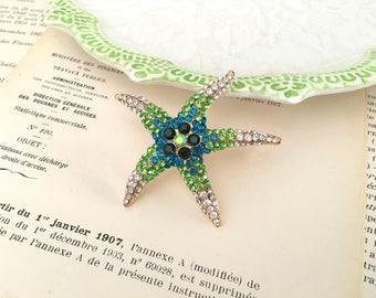 Green Starfish Brooch.Teal Starfish Brooch.Gold Starfish.broach.beach wedding.crystal brooch.rhinestone pin.bridal accessory.Starfish Pin
