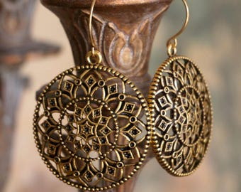 Round Medallion Shield Earrings in Antiqued Gold - Mandala Earrings