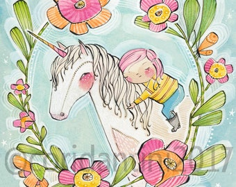"""Girl Powers, Little Girls with unicorn wall Art Print by cori dantini  """"8 x 8"""" Baby Nursery Girls Room  Archival and Limited edition"""