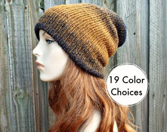 Double Knit Hat Golden Ochre and Navy Blue Womens Beanie, Mens Beanie, Reversible Thick Winter Hat - 19 Color Choices