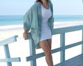 Hand Dyed Watercolor Aqua Silk Beach Duster, Heavy Silk Kimono, Rayon Cover, Tie Dye Soft Ocean Jacket, Street Kimono. ONE Size (M-XL)