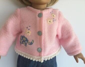 18 Inch Doll Clothes - Pink Elephant Fleece Jacket - Coat -
