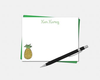 Personalized Note Cards, Pineapple Note Cards, Set of 8, Pineapple Stationery, Personalized Flat Note Cards, Pineapple Stationary
