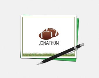 Football Note Cards - Personalized Football Note Cards - Coach Note Cards - Set of 10 - Folded Note Cards - Football Stationery