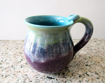 Coffee Cup, Plum and Turquoise Mug, 14 oz, Ready to Ship
