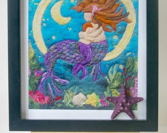 "Mermaid Mother and Child Fiber Art: Quality Art Print of 'The Siren's Lullaby' (8 x 10"" Felted Wool and Silk)"