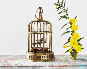 "Vintage Brass Wire Birdcage - 7.5"" metal cage with bird swinging on perch - hanging decoration"