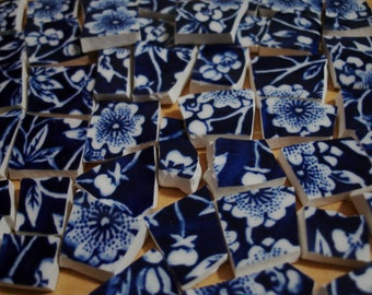 Calico- Mosaic Tile and Pieces - Calico Flowers- Dark Blue Flowers-Blue White Centers-Tesserae Tile Pieces