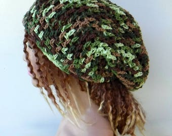 Soft camo slouchy hat, cotton blend hippie small dreadlocks beanie tam hat hairnet snood slouchy crochet hat, slouch beanie, slouchy beanie