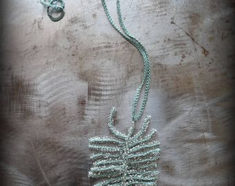 New, Beaded Fern Necklace, Crocheted Lace, Green, Handmade, Thread, Nature, Unique, Bohemian, Original, Glass Beads, Encrusted, Monicaj