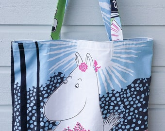 Large tote shopping bag light blue fuchsia reused cotton shoulderbag with Moomin Mamma