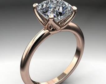 natalie ring - 1.7 carat cushion cut NEO moissanite engagement ring