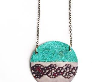 Enamel and Patina Circle Necklace