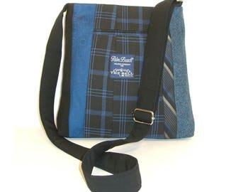 Miles Messenger #3917 - Recycled Suit Coat Messenger - Unisex Bag - Upcycled handbag - Crossbody Messenger Bag - Gift for Him - Gift for Her
