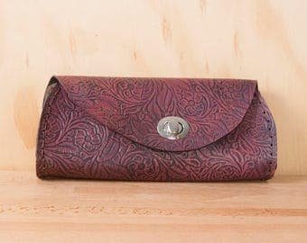 Leather Clutch - Handmade in Tooled Floral Leather in Deep Pink - Leather Purse, Clutch, Wristlet, or Waist Bag