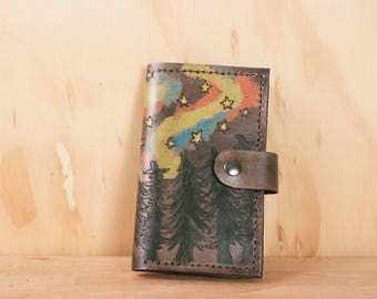 iPhone 7 Plus Wallet - Leather Card and Phone Case in the Stars Pattern with trees, stars and northern lights - Black, turquoise, green