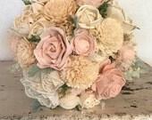 Sola flower bouquet, brides wedding bouquet, blush wedding flowers, eco flower bouquet, alternative keepsake bridal bouquet, champagne