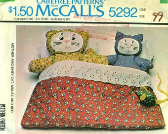 McCall's 5292 Cats and Mice in Bed Toy 1970s