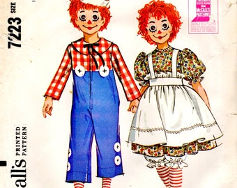 McCall's 7712 Raggedy Ann Andy 1960s Costume TIGHTS & WIG MASKS ©1964 Child Size Medium