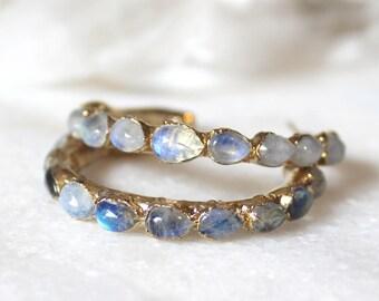 moonstone hoops, moonstone earrings, rainbow moonstone, gold hoops, gifts for her, june birthstone