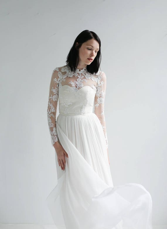 long sleeve Lace and Silk Wedding Dress--Sample SALE