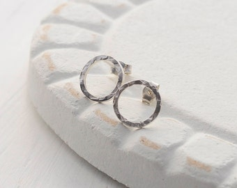 Hammered Silver Circle Stud Earrings - Round Hammered Studs - Simple Circle Studs - Round Silver Earrings