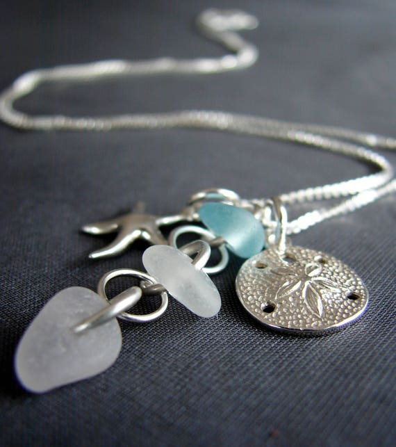 Ocean sea glass necklace in aqua, white and soft pink