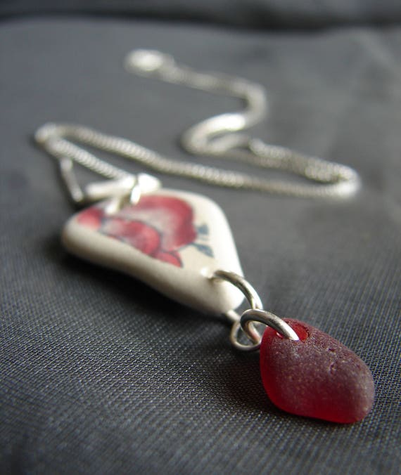 Vessel sea pottery and ruby red sea glass necklace