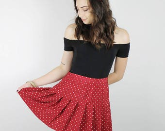 Maroon Polka Dot skirt, CHEERLEADER Skirt, Maroon and White DOT Skirt, Polka Dot Cheerleader Skirt, Vintage Mini skirt, 90s skirt