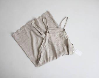 linen overall dress | beige linen dress | linen jumper dress