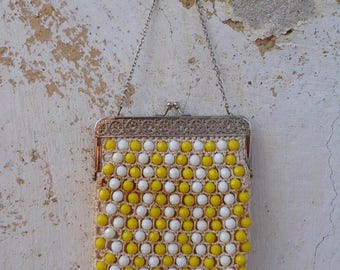 Vintage 1960/60s white & yellow beaded  bag /purse /pouche /coin purse