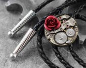 RESERVED for Sandifer Steampunk Red Rose Western Bolo Tie - Because She Is My Rose by COGnitive Creations