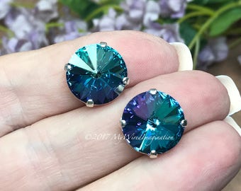 14mm Rivoli, Genuine Swarovski Crystal, Blue Lagoon 1122 UNF With Silver or Gold Plated Setting, Crystal Sew On, Bermuda Blue Heliotrope