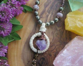 Amethyst and Clear Quartz Necklace - Copper Dreamcatcher Inspired - Boho Necklace - Stone Gemstone Gypsy Necklace - Vegan Beige Suede Boho