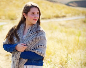 Medhel an Gwyns Blanket Shawl in Greige