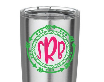 Arrow Decal Monogram Decal Southwest Decal Boho Decal Bohemian Vinyl Decal for Yeti Cups Car iPads, Computer decal, iPhone decal, mug decal,