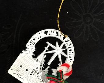 Vintage Metal Christmas Come All Ye Faithful Ornament