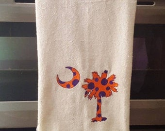 Dish Towel, Clemson University,Dishcloths And Kitchen Towels, Palmetto Tree  And Moon,