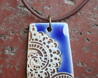 Rustic Lace Porcelain Pendant | royal blue | focal pendant | jewelry supplies