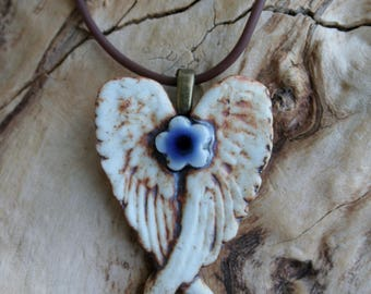 Rustic Royal Blue Winged Porcelain Flower Pendant 2