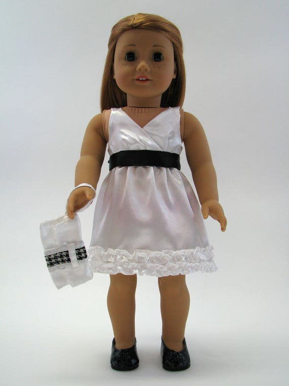 White Satin Dress with Black Bow & Clutch - 18 Inch Doll Clothes