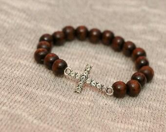 Cross bracelet, cross charm bracelet, wood bead bracelet, stack wood bracelet, stack jewelry, boho charm, gift for her, cross jewelry, boho