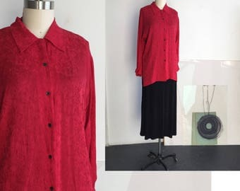 Red Shirt Long Sleeve, Satin Silk Blouse, Red Blouse Silk, Blouses for work, Silk Satin Shirt, Red Shirt Woman, Textured Shirt, Red Blouse L