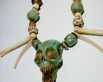 Turquoise, Voodoo, Vanuatu skull, Shadow Man, Santeria, Horror Sculpture, Witch, Zombie Head Pendant