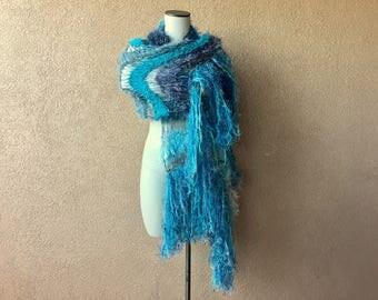 Teal Shawl Aqua Scarf Shawl Ocean Seafoam Turquoise Grey Black White Charcoal Hand Knit Striped Fringe Shawl Wrap Cape