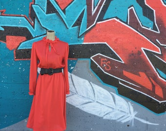 Vintage 1980s Red Pin Tucking Dress (Size Small/Medium)