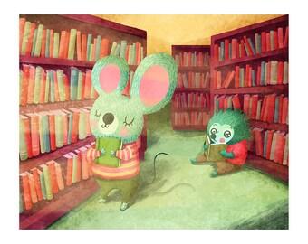 Book Lovers Art - Cute Mouse Print Nursery Art Hedgehog Art Print Library Cute Animal Illustration Cute Animal Art kid wall art Library art
