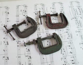 Three Little Vintage Cast Metal Industrial Clamps