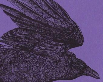 Purple Corvid Card Letterpress Printed Original Illustration Flying Bird