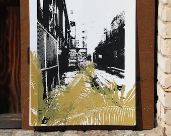 Urban Jungle Downtown Los Angeles Screen print - Metallic Gold Print - DTLA Art - City Artwork - Modern Print